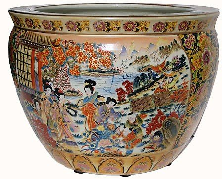 Porcelain Fish Bowl Imported From China And Is Painted In A
