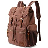Lifewit 17 Inch Canvas Laptop Backpack - Unisex Vintage Leather, Casual School College Bags, Hiking, Travel Rucksack & Business Daypack (Coffee color)
