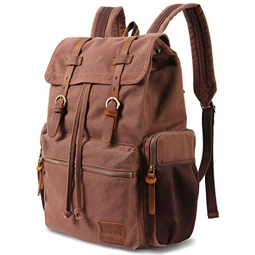 Premium Leather Backpack (Lifewit 17 Inch Canvas Laptop Backpack - Unisex Vintage Leather, Casual School College Bags, Hiking, Travel Rucksack & Business Daypack (Coffee color))