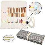 Teamoy Knitting Needles Holder Case(up to 14 Inches), Cotton Canvas Rolling Organizer for Straight and Circular Knitting Needles, Crochet Hooks and Accessories, Gray --NO ACCESSORIES INCLUDED