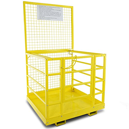 Forklift Safety Cage Work Platform Heavy Duty Basket Aerial Fence Rails 45''x43'' by Titan Attachments