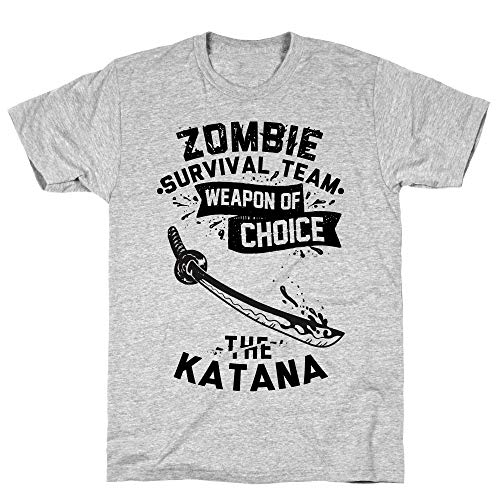 LookHUMAN Zombie Survival Team Weapon of Choice The Katana Small Athletic Gray Men's Cotton Tee -