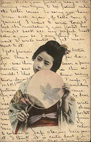 Woman with Fan Japan Original Vintage Postcard