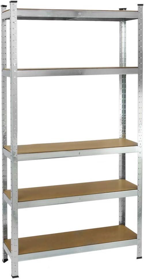 PrimeMatik - Estanteria metálica galvanizada para almacenar de 5 baldas de Madera 90x30x180 cm: Amazon.es: Electrónica
