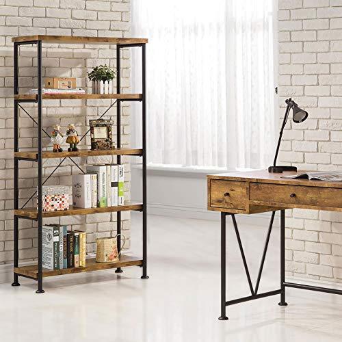 Buy coaster bookcase in antique nutmeg finish 801542