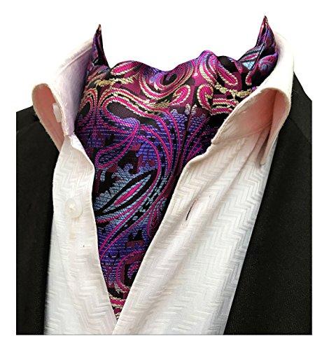 (MENDENG Mens Black Paisley Jacquard Woven Silk Cravat Necktie Scarf Formal Ascot)