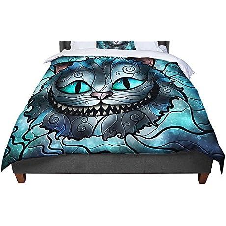 KESS InHouse Mandie Manzano Mad Chesire Teal Cat King Cal King Comforter 104 X 88