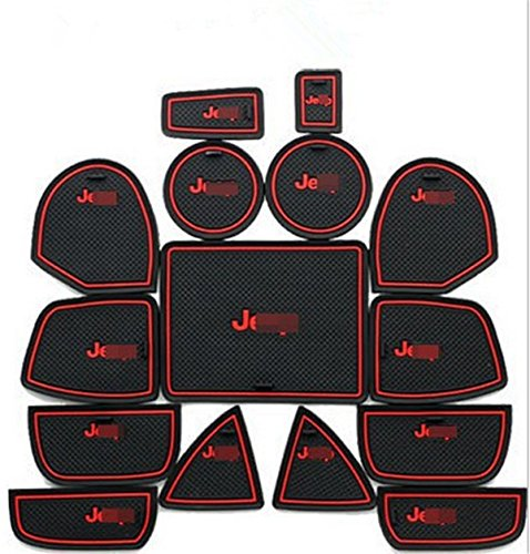 (Highitem 15pcs Interior Door Non-Slip Mat Cup Slot Pads For Jeep Grand Cherokee 2011-2015 With Logo (Red))