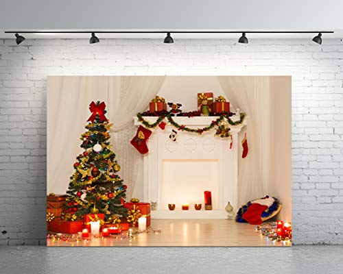 7x5ft Christmas Backdrop,Christmas Tree Fireplace Photography for Party Vinyl Photo Background YM17