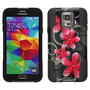 Samsung Galaxy S5 Hybrid Case Pink Star Flower on Black 2 Piece Style Silicone Case Cover with Stand for Samsung Galaxy S5