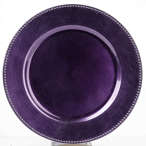 BalsaCircle 6 pcs 13-Inch Purple Crystal Beaded Round Charger Plates - Dinner Wedding Supplies for all Holidays Decorations