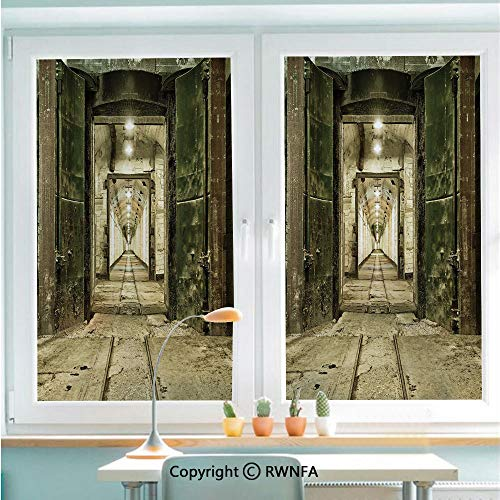 - Window Films Privacy Glass Sticker Old Underground Bunker from Cold War Abandoned Ruined Building Artsy Picture Static Decorative Heat Control Anti UV 22.8In by 35.4In,Beige Green