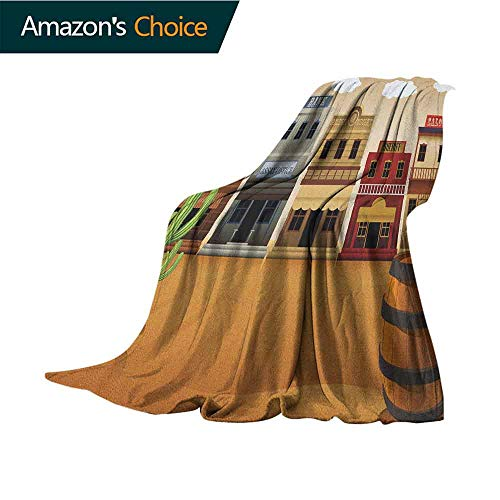 American Throw Blanket,Wild West Scenery Village Old Town Texas Cowboy States Nostalgic Illustration Microfiber All Season Blanket for Bed or Couch,60