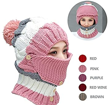 b55043c3a39 Amazon.com  NEEDOON 3 in 1 Winter Hat Scarf Mask Ear Muff Set for ...