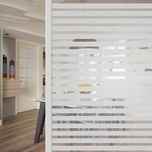 VIVOCCfilm Window Film Privacy Frosted Glass Sticker Films Decor Cling Sun Blocking for Home Living Room Bedroom Kitchen Office Meeting Room -A 75x200cm(30x79inch)