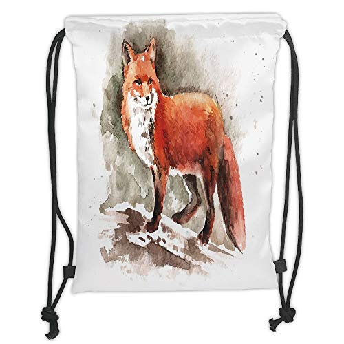 (Fox,Watercolor Hand Drawn Red Fox with Bushy Tail Brushstrokes Tod Mammal Decorative,Burnt Sienna White Brown Soft Satin,5 Liter Capacity,Adjustable Strin)