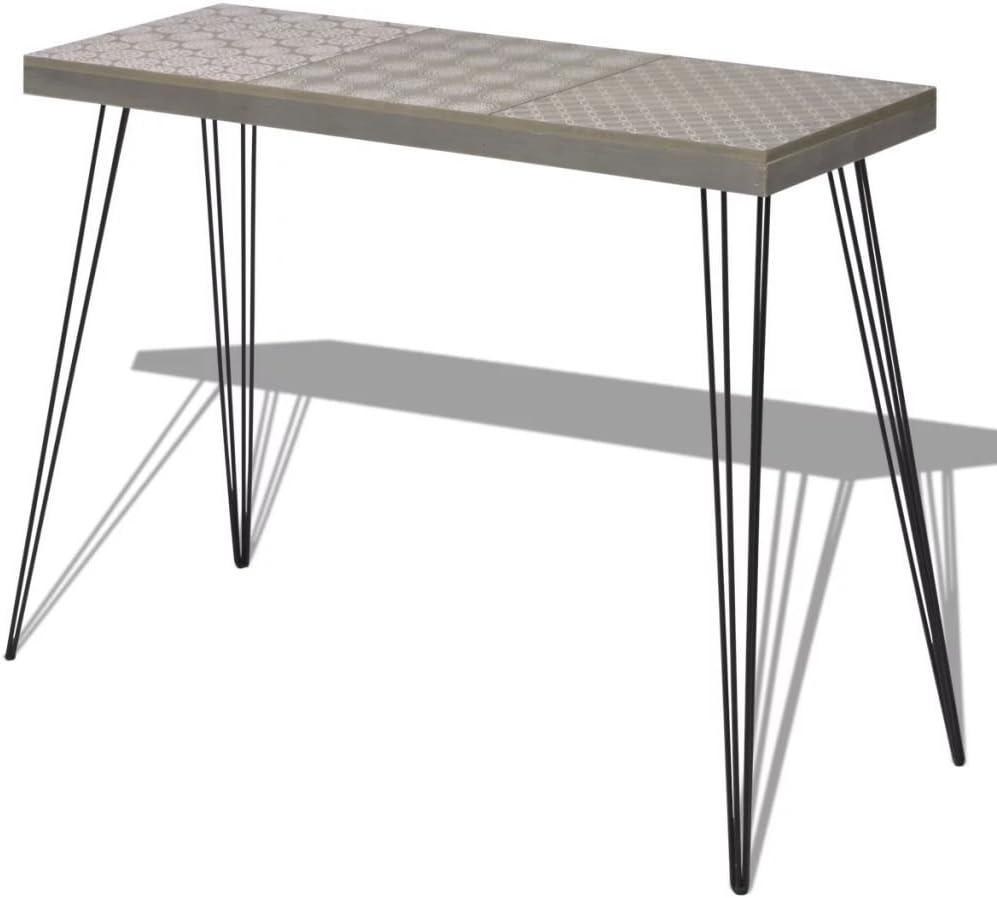 Table Table de 90x30x71 5 d'appoint Console vidaXL Gris Support téléphone cm gb76yf