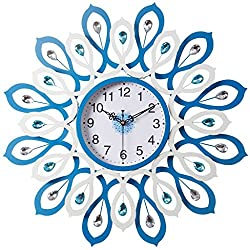 Wall Clocks Clocks and Watches Blue Metallic Round Large Modern Mute Silent Suitable for Bedroom & Living Room & Home & Kitchen Size 60cm
