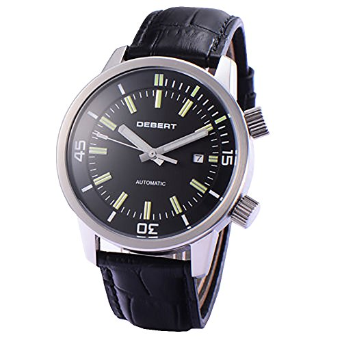 Debert 45mm Black DIal Miyota 821A Movement Automatic Date Day Mens Watch 1762