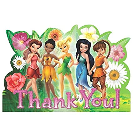 Disney Tinkerbell And The Fairies Birthday Party Thank You Cards 8 Pack Multi