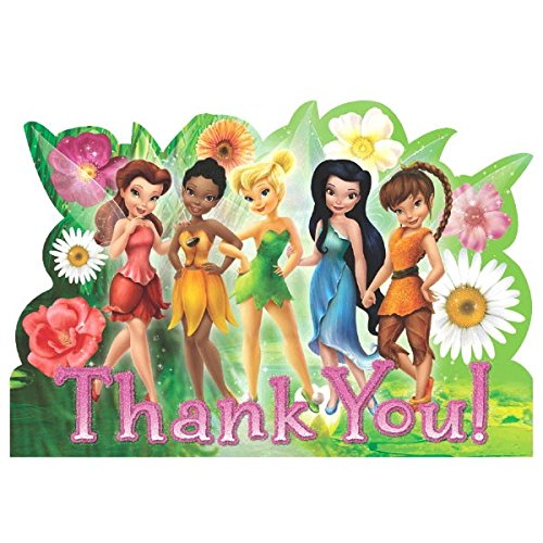 Garden Fairy Lunch Napkins - Disney Tinkerbell And The Fairies Birthday Party Thank You Cards (8 Pack), Multi Color, 5 7/9