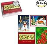 32 Traditional Boxed Christmas Cards: Assortment of Nostalgia Themes (with Envelopes, on Recycled Paper, in Keepsake Box)