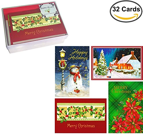 32 Traditional Boxed Christmas Cards: Assortment of Nostalgia Themes (with Envelopes, on Recycled Paper, in Keepsake - With Shipping Wrap Free Us Coupon