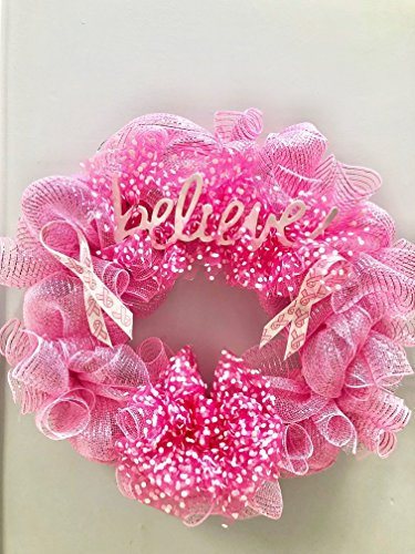 Wreath Breast Cancer Awareness, Breast Cancer Awareness Month Wreath, Breast Cancer Survivor Wreath, Breast Cancer Survivor Gift, Think Pink Wreath -