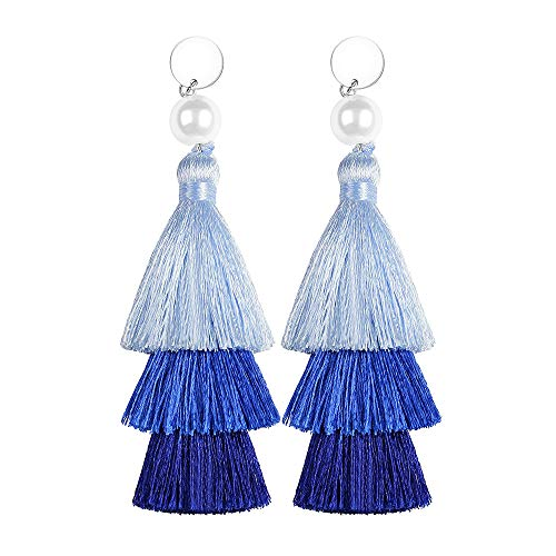Long Tassel Earrings Drop Dangle Bohemian Layered Thread Navy Blue Ombre Color Baublebar Earing Jewelry