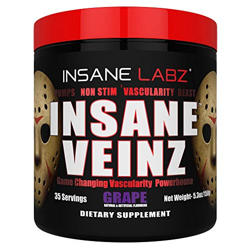 Insane Labz Insane Veinz Non Stimulant NO Enhancing Powder, Nitric Oxide Booster, Loaded with Agmatine Sulfate and Betaine Anhydrous,Increase Vascularity, 35 Srvgs, Grape