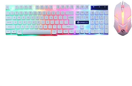 White Backlit Wired Colorful Crack LED Illuminated Ergonomic USB Wired Emitting Character Keyboard for PC Laptop Rainbow Gaming Keyboard