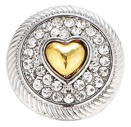 Pizazz Studios Gold Heart Crystal Snap Charm 18mm ()