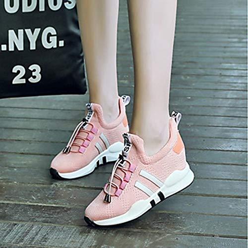 Ttshoes eu43 uk9 cn45 À Semelle Cross Nylon Femme Printemps Été Basket Course Rond Hauteur Bout us11 5 Training De fitness Et pink 5 Chaussures Pied Compensée Confort rxoedBWC