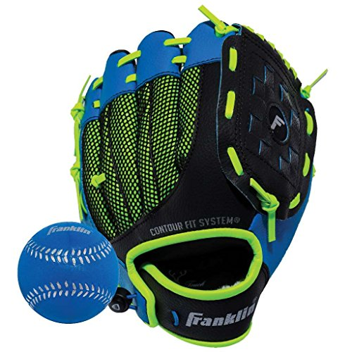 Glove Left Hand Thrower - Franklin Sports Teeball Glove - Left and Right Handed Youth Fielding Glove - Neo-Grip - Synthetic Leather Baseball Glove - 9.0 Inch Left Hand Throw - Ready To Play Glove - Blue