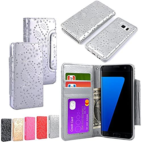 Galaxy S7 Edge Case, HESPLUS Magnetic [Bling] [Detachable] [Wallet] Premium PU Leather Case Folio Flip Cover with Wrist Strap for Samsung Galaxy S7 Edge (Silver) Sales
