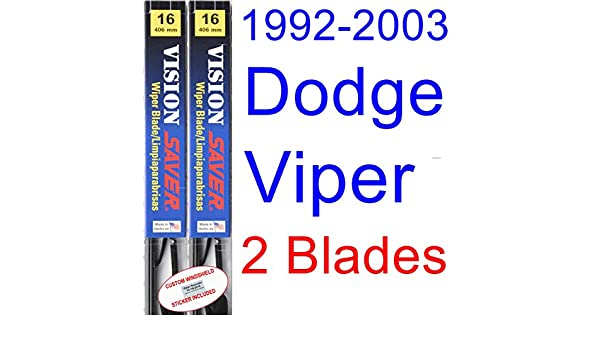 Amazon.com: 1992-2003 Dodge Viper Replacement Wiper Blade Set/Kit (Set of 2 Blades) (Saver Automotive Products-Vision Saver) (1993,1994,1995,1996,1997,1998 ...