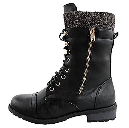 Forever Link Womens Mango-31 Runde Zehe Military Lace Up Knit Knöchel Manschette Low Heel Combat Boots Schwarz Pu