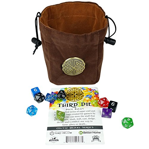 Leather Dice Bag (Third Die Dice Bag - Handcrafted, Reversible Drawstring Bag That Stands Open On The Table And Closes Tight - Soft Microfiber With Cool Celtic Knot Medallion - Rich Brown and Hide Brown)