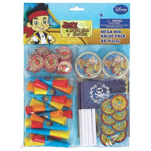 Jake The Pirate Party Ideas (Disney Jake And The Never Land Pirates Birthday Party Mega Mix Assorted Favor Kit, Pack Of 48, Pack Of Assorted Items , 11