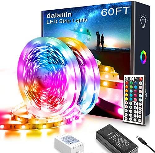 60ft Led Lights,dalattin Led Strip Lights for Bedroom Color Changing Lights with 44 Keys Remote Controller Led Strip Lights,2 Rolls of 30ft