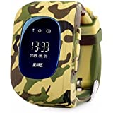Smart Gadgets 2017 GPS (LED Display)Tracker Smart Watch for Kids with Sim Card Smartwatch Phone Anti-lost Finder SOS Gprs Children Fitness Tracker Wrist Watch Bracelet with Parents Control App for Smartphone (Camo)