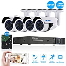 OWSOO CCTV Security System System 4CH H.264 Full 1080N DVR +4pcs 1080P AHD IR CCTV Camera + 4pcs 60ft Surveillance Cable + 1 TB HDD Support Phone APP Control Motion Detection Night Vision