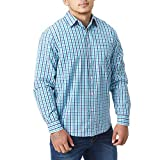 Charles Wilson Originals Long Sleeve Men's Gingham Checked Casual Shirt (X-Large, Sky & Navy)