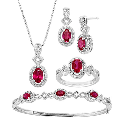 5 ct Created Ruby Pendant, Bracelet, Earring & Ring Set with Diamonds in 14K White Gold-Plated ()