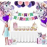 Katie Doodle Unicorn Birthday Party Supplies Pack (101 Piece Set) – Magical Party Decorations For Girls – Happy Birthday Banner, Balloons, Pompoms, Cupcake Toppers, Wrappers, Unicorn Headband & Favors