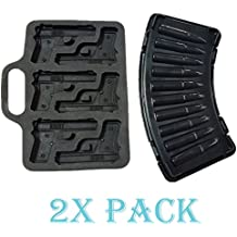 Combo 2 Molds, 1 x AK47 Bullet + 1 x Pistol Gun Ice Cube Chocolate Soap Tray Mold Party maker (Ships From USA)