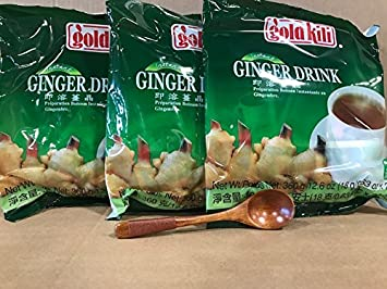Gold Kili Instant Ginger Beverage, 12.60 Ounce With FREE Natural Wood Spoon, By KC