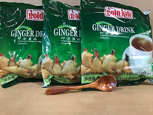Gold Kili Instant Ginger Beverage, 12.60 Ounce With FREE Natural Wood Spoon, By KC Commerce (Pack of -
