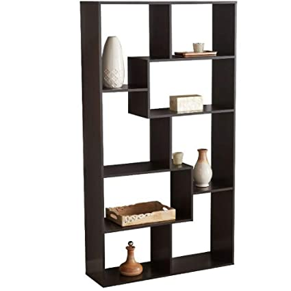 Delicieux BS Open Shelf Bookcase Stylish Brown Freestanding Cube Shelving Unit  Asymmetrical Shelves Home Office Additional Storage