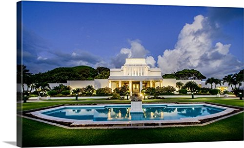 Scott Jarvie Gallery-Wrapped Canvas entitled Laie Hawaii Temple, Fountain and Lights, Laie, Hawaii by greatBIGcanvas